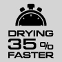 drys hair 35% faster